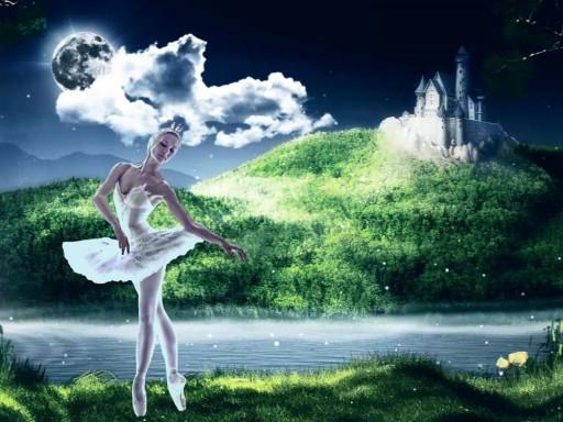 Hình ảnh nghệ sĩ múa ballet trình diễn trên nền ánh sáng 3D