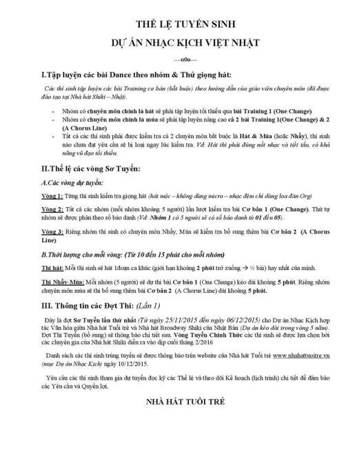 Nhà hát Tuổi Trẻ tuyển diễn viên Nhạc Kịch cho vẻ  Dream Cat  1